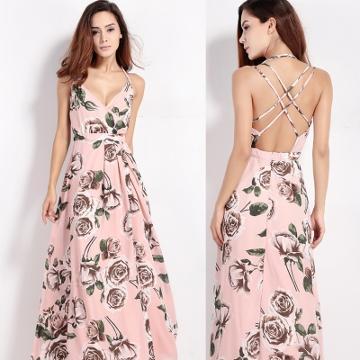 Oasap Women's Spaghetti Strap Back Cross Floral Print Maxi Dress