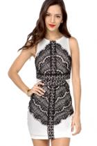 Oasap Eyelash Lace Applique Tank Bodycon Dress
