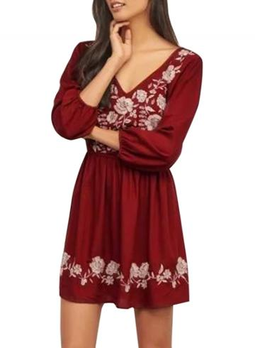 Oasap Women's Floral Embroidery Print Deep V Cut-out Back Dress