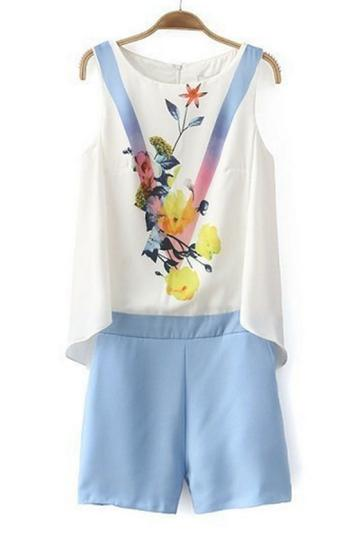 Oasap Nice Floral Pleated Rompers