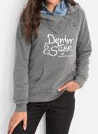 Oasap Turn Down Collar Long Sleeve Letters Printed Sweatshirt