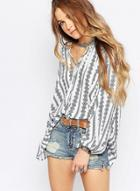 Oasap Loose Long Sleeve Striped Printed Blouse