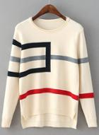 Oasap Round Neck Striped Long Sleeve Sweater
