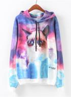 Oasap Fashion Long Sleeve Cat Printed Pullover Hoodie