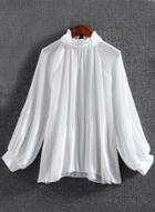Oasap Casual Mock Neck Long Sleeve Loose Fit Pullover Blouse