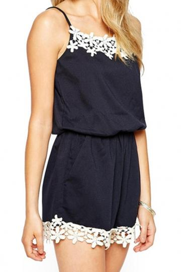 Oasap Fetching Halter Sleeveless Lace Rompers