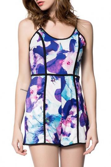 Oasap Fabulous Backless Floral Print Rompers