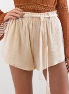 Oasap Solid Loose Fit Shorts With Belt