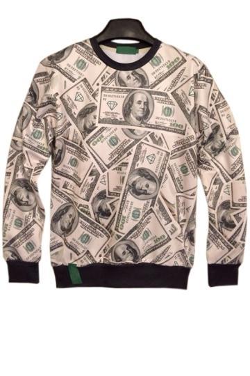 Oasap Street-chic Dollar Sweatshirt