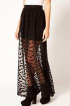 Oasap Stylish Polka Dot Mesh Maxi Skirt