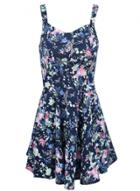 Oasap Women's Floral Print Fit Flare Mini Tank Dress