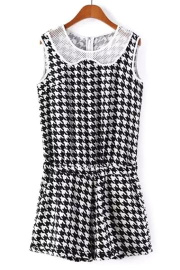 Oasap Houndstooth Mesh Rompers