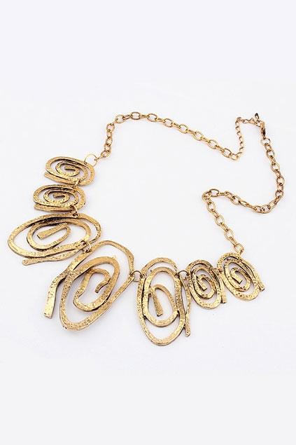 Oasap Irregular Helical Metal Pendant Necklace
