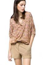 Oasap Stylish Floral Button Down Blouse