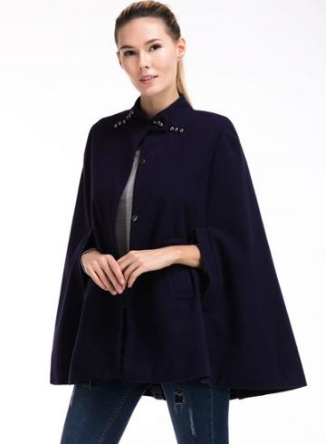 Oasap Stand Collar Sleeveless Solid Coats