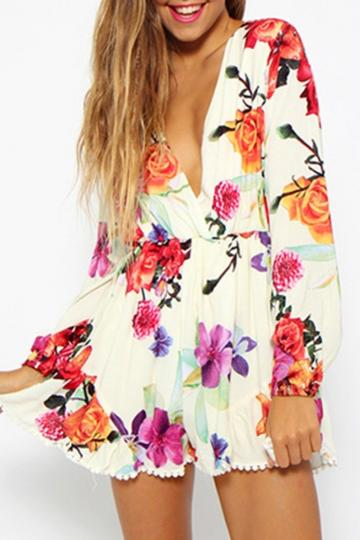 Oasap Gorgeous Floral Print Long Sleeve Rompers