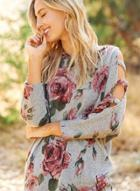 Oasap Round Neck Long Sleeve Floral Printed Pullover Tee Shirt