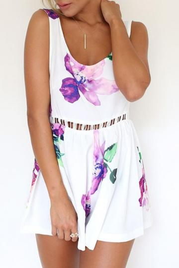 Oasap Off-duty Floral Open Back Rompers
