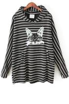 Oasap Striped Cat Hoodie