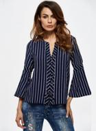 Oasap Flare Sleeve Cut Out Chiffon Striped Blouse