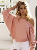 Oasap Batwing Sleeve Solid Color Pullover Sweater