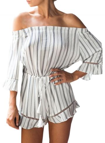 Oasap Women's Color Block Striped Lace-up Waist Romper