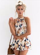 Oasap Floral Printed Halter Sleeveless Top Shorts Set