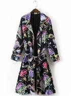 Oasap Birds Flowers Print Long Sleeve Trench Coat With Belt