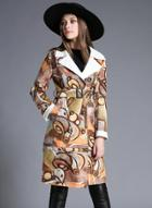 Oasap Fashion Double Breasted Printed Trench Coat With Belt