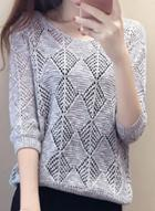 Oasap V Neck 3/4 Sleeve Hollow Out Knit Sweater