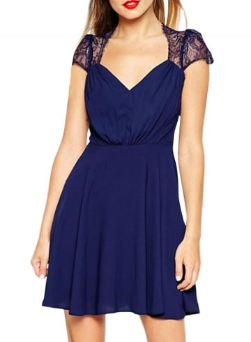 Oasap Women's Elegant Lace Paneled Deep V A-line Dress