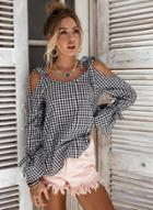 Oasap Plaid Off Shoulder Long Sleeve Blouse