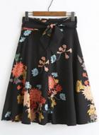Oasap Floral A-line Skirt With Belt