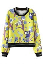 Oasap Cute Owl Pattern Yellow Sweatshirt