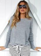 Oasap Solid Round Neck Long Sleeve Loose Sweater