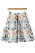 Oasap Chic Crane Print Skirt