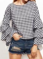 Oasap Plaid Ruffle Long Sleeve Pullover Blouse