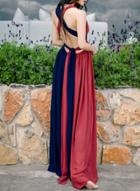 Oasap Color Block Sleeveless Long Prom Dress