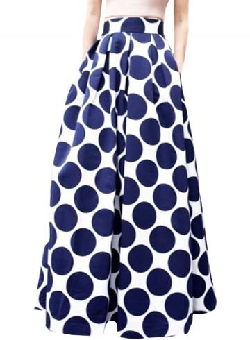 Oasap Women's Color Block Polka Dot Print High Waist Skirt