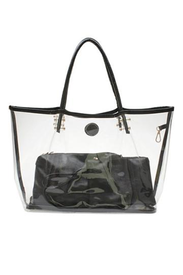 Oasap Sheer Shoulder Bag With Two Pu Inner Bags