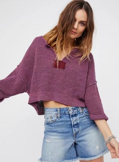 Oasap Solid V Neck Batwing Sleeve Loose Fit Cropped Sweater