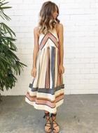 Oasap Casual Sleeveless Striped Maxi Dress