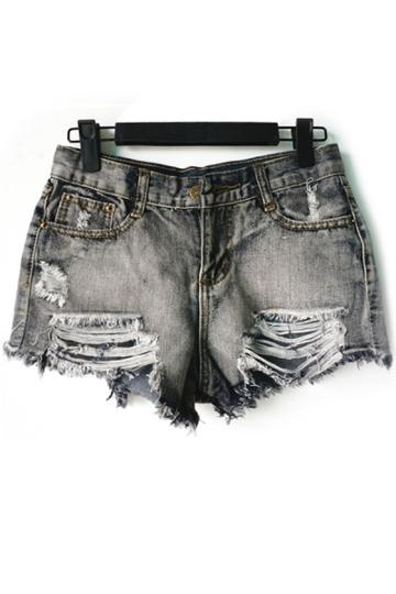 Oasap Destroyed Jean Shorts