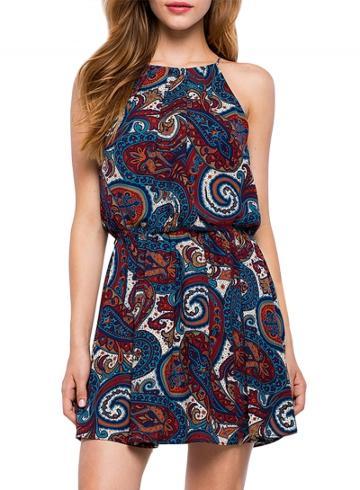 Oasap Women's Paisley Print Spaghetti Strap Keyhole Back Dress
