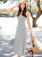 Oasap Fashion Sleeveless Striped Loose Fit Maxi Dress
