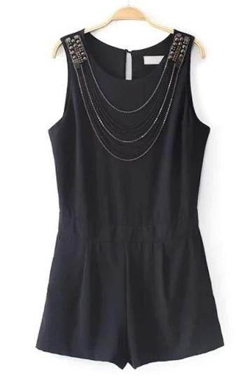 Oasap Black Studded Rompers