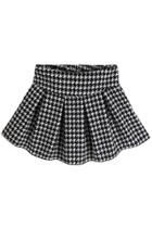 Oasap Houndstooth Pleated A-line Skirt