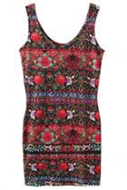 Oasap Graceful Floral Bodycon Mini Tank Dress