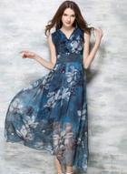Oasap Bohemian Style Chiffon Sleeveless Maxi Dress