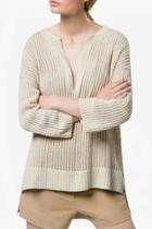 Oasap Stylish Plunging Neck High-low Sweater